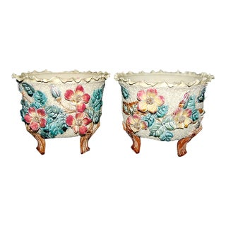 Pair of French Barbotine Planters