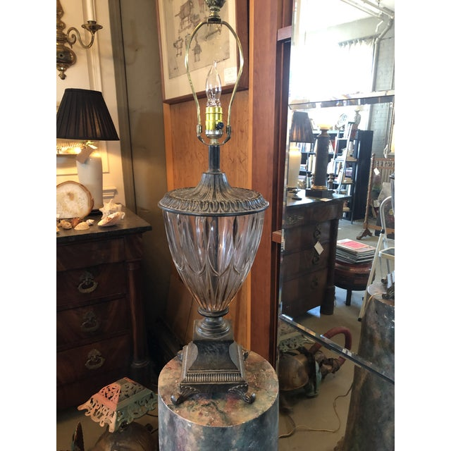 Vintage Neoclassical Crystal Table Lamp For Sale - Image 10 of 13