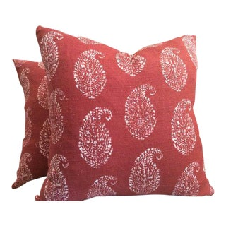 Peter Dunham Pillows in Red Paisley - a Pair For Sale