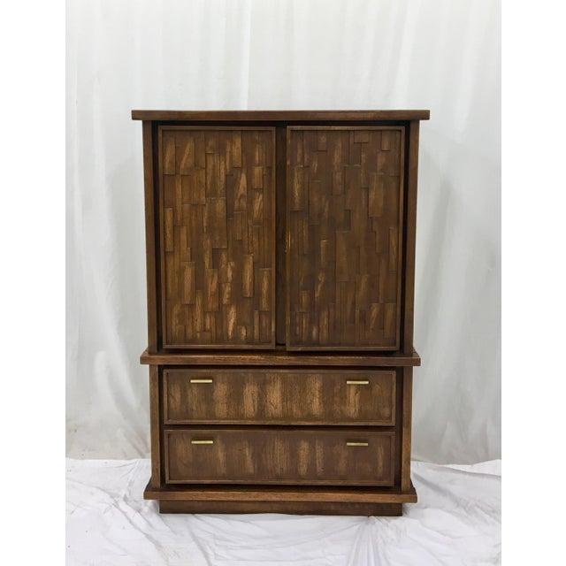 Vintage Mid-Century Brutalist Armoire Dresser - Image 8 of 8