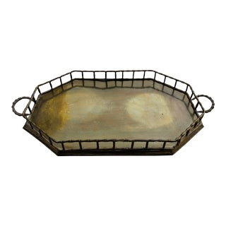 1960s Faux Bamboo Octagonal Brass Tray For Sale