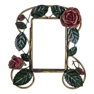 Shabby Tole Frame With Rose Motif For Sale