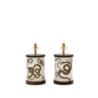 Sinewy Serpents Allover Pattern Table Lamps - a Pair For Sale
