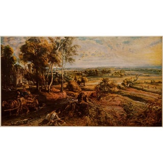 Vintage Lithograph Rubens, Landscape With Castle Steen For Sale