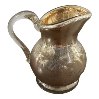 Antique Mercury Glass Small Hand Painted Pitcher With Gold Washed Interior For Sale