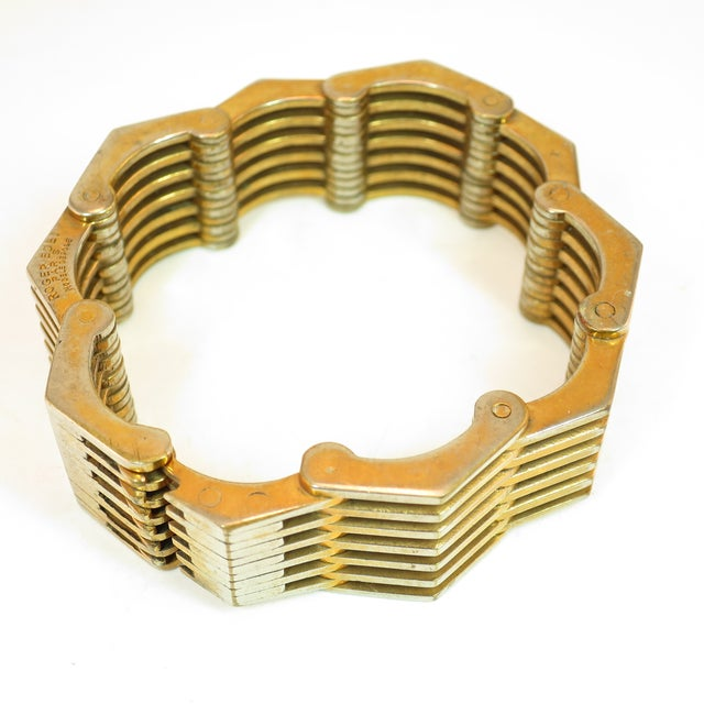 Roger Edet Paris Modernist Architectural Link Bracelet 1940s For Sale In Los Angeles - Image 6 of 13