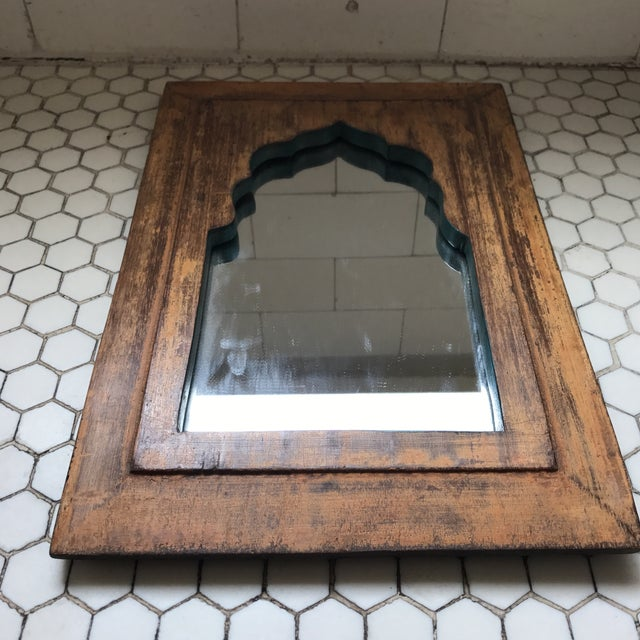 Vintage Indian Archway Painted Teak Mirror - Image 3 of 11