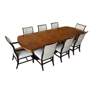 Henredon Furniture Jeffrey Bilhuber Colonnade Row Golden Mahogany Dining Triple Pedestal Table and Chair Set For Sale