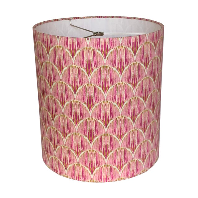 Contemporary Ikat Rose Pink Lampshade For Sale - Image 3 of 3