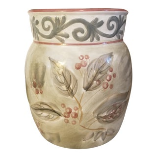 1980s Vintage Mediterranean Painted Style Planters/ Vases/Wastebaskets -3 For Sale