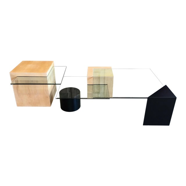 Late 20th Century Modern Geometric Wood and Glass Multi-Level Coffee Table For Sale