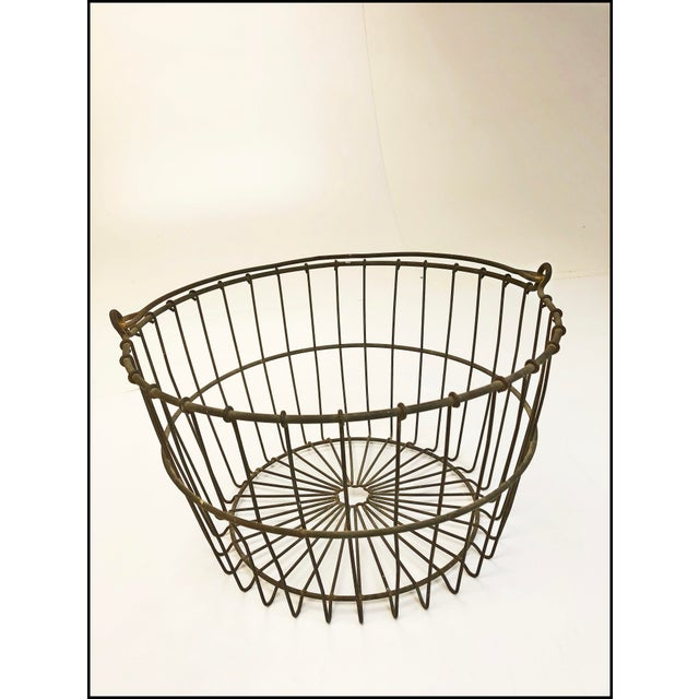 Rustic Vintage Rustic Wire Metal Egg Basket With Handle For Sale - Image 3 of 10