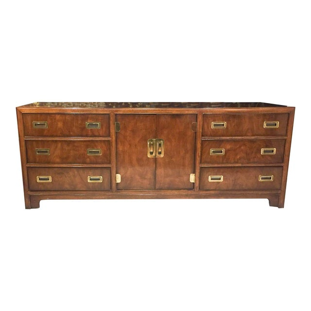 Mid Century Signed Drexel Heritage Campaign Chest of Drawers For Sale