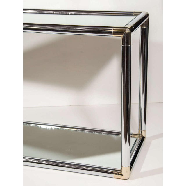 Romeo Rega Italian Mid-Century Modern Mirrored and Chrome Two Tier Console Table, C. 1970 For Sale - Image 4 of 12