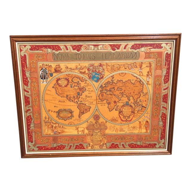"Large Hand Painted Map of the World 1613 Nova Totivs Terrarvm 64"" For Sale"