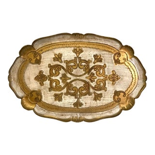 20th Century Italian Florentine Gold and Ivory Oval Scalloped Tray For Sale