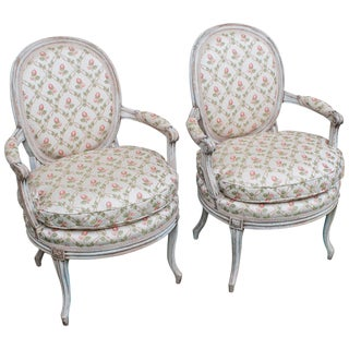 1880s Louis XVI Style Transitional Painted Fauteuils-a Pair For Sale