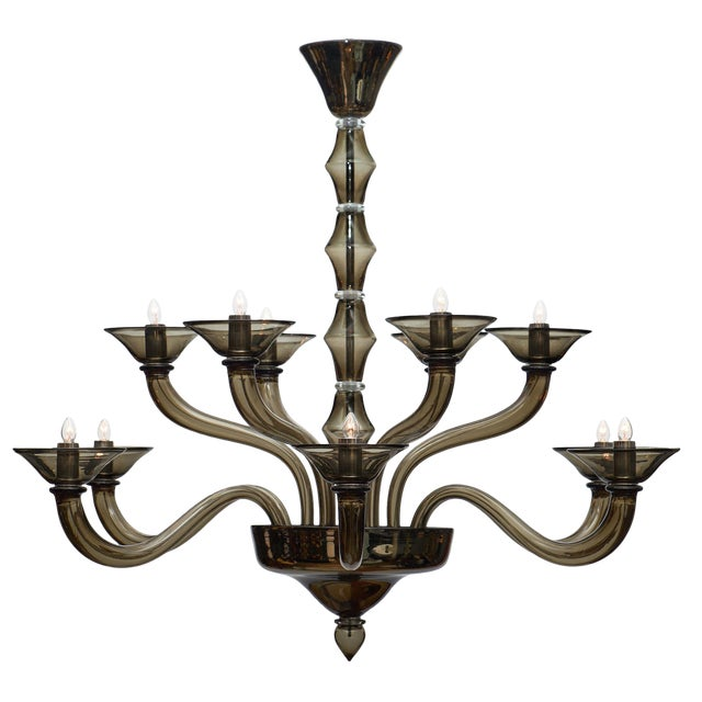 Murano Gray Mercury Glass Chandelier For Sale