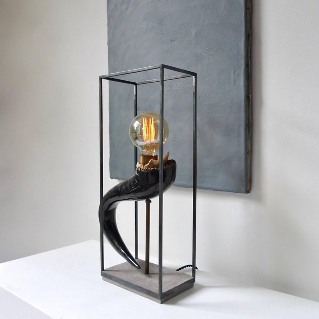 Stone Wildebeest Horn Table Lamp, Sander Bottinga For Sale - Image 7 of 9