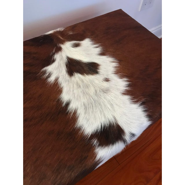 White Modern Cow Hide Upholstered Bench With Brass Legs For Sale - Image 8 of 13