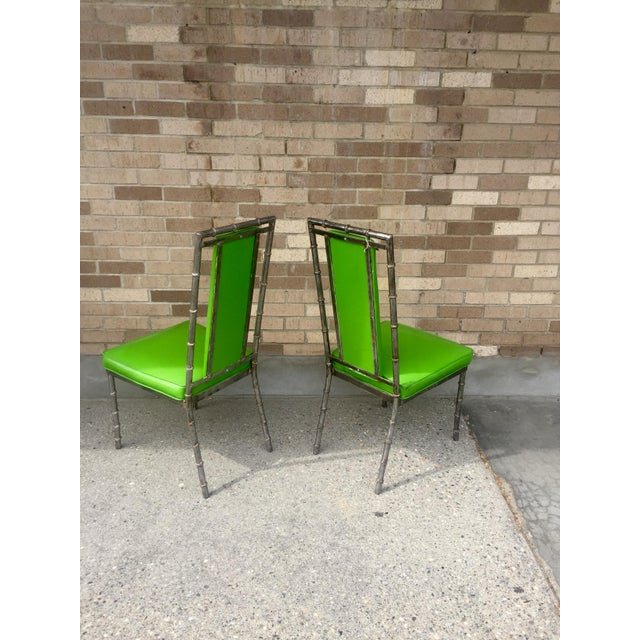 Faux Bamboo Green Metal Chairs - A Pair - Image 4 of 4
