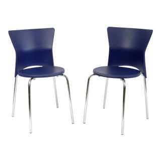 Italian Made Olaf Von Bohr Isis Royal Blue Plastic Shell Chairs - a Pair For Sale
