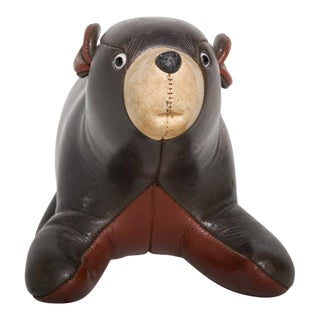 Mid Century Modern Brown Leather Bear Stuffed Toy For Sale