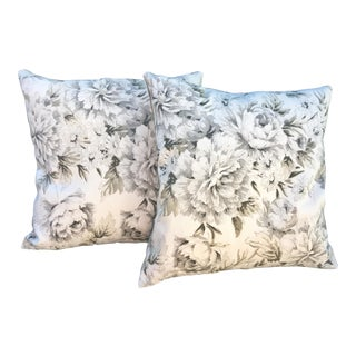 1980s Shabby Chic Peonies Pillows - a Pair For Sale
