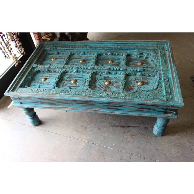 Art Deco Distressed Solid Wooden Rustic Coffee Table For Sale - Image 3 of 6