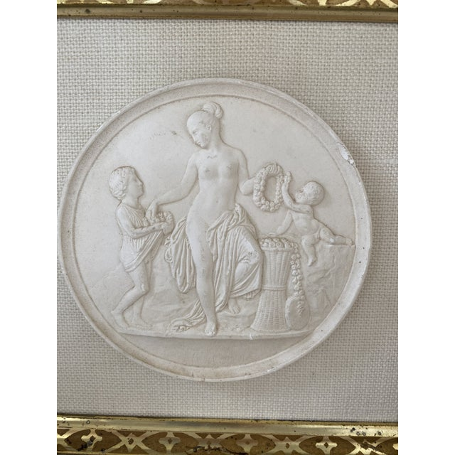 Antique Plaster Intaglio Plaque Framed in Antique Walnut and Gilt Frames - a Pair For Sale - Image 4 of 13