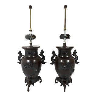 Champman 'Elephant and Dragon' Bronze Usabata Japanese Style Table Lamps - a Pair For Sale