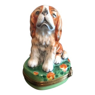 Sale- Rochard Limoges King Charles Spaniel Limoges White & Tan Box For Sale