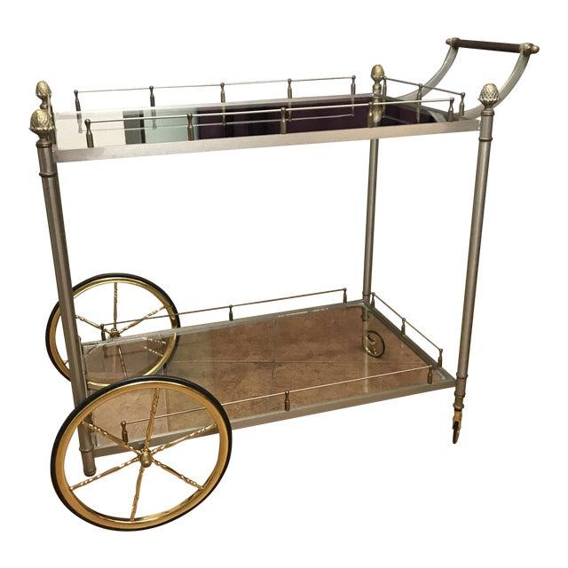Vintage Hollywood Regency Brass Bar Cart - Image 1 of 10