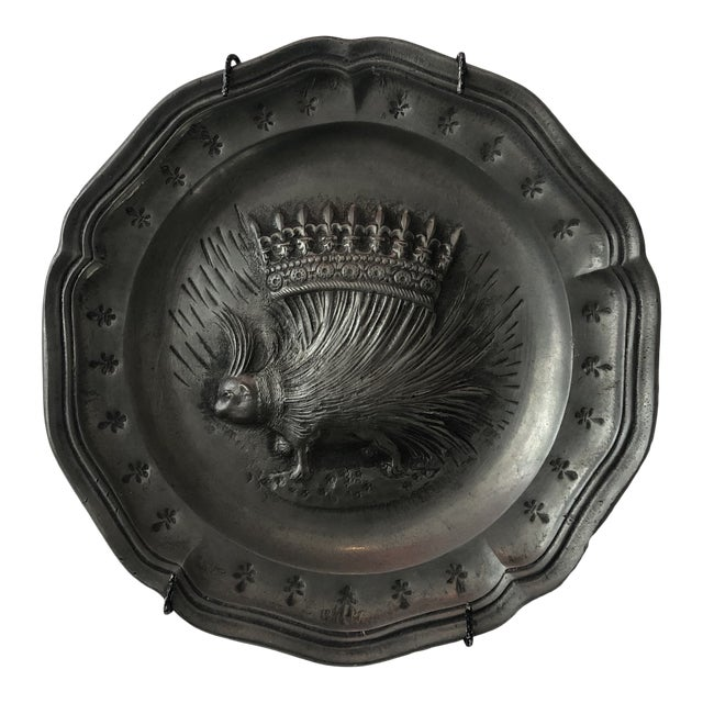 Vintage French Pewter Plate With Porcupine Motif For Sale