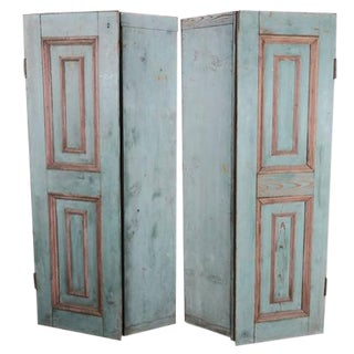 Antique Painted Paneled Shutters - A Pair