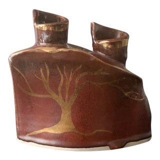 Mid Century Studio Pottery Candle Holder With Gold Tree, Signed For Sale