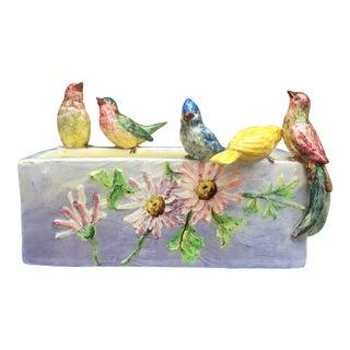 19th Century Majolica Paradise Birds Jardinière Pierre Perret Vallauris For Sale