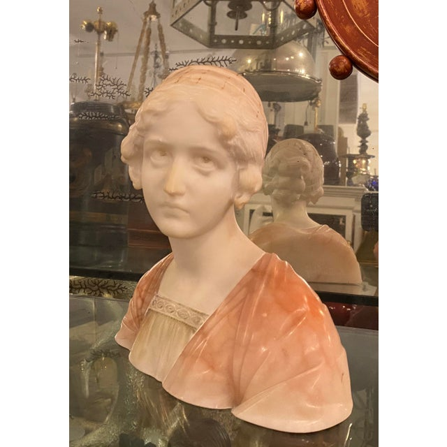 Antique Carved Italian Pink Alabaster Bust of Mignon by Professor Giuseppe Bessi