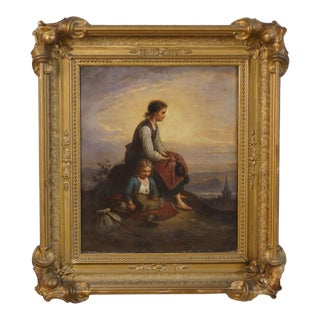 "Early 19th Century Continental ""Breaking Away"" Oil Painting on Canvas For Sale"