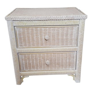 1970s Cottage Lexington Henry Link Wood Wash Wicker Two Drawer Nightstand For Sale