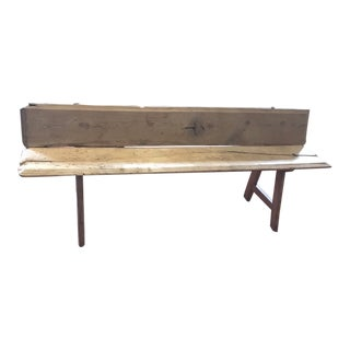 Antique Spanish Blond Natural Pine Bench With Antique Staples C. 1780 For Sale