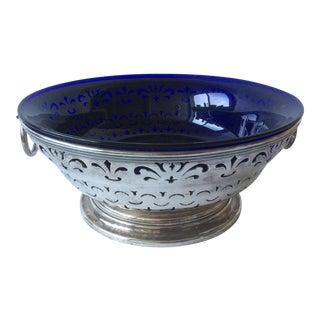 Antique Sheffield Silver and Cobalt Blue Bowl For Sale