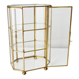 Vintage Large Brass Glass Display Case Curio For Sale