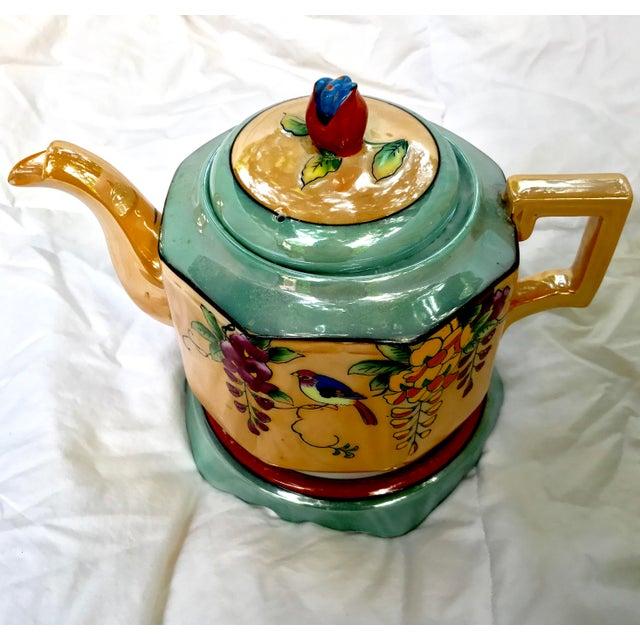 Art Deco Japanese Lustreware Teapot on Base With Bird Theme - 3 Piece Set - Image 4 of 7