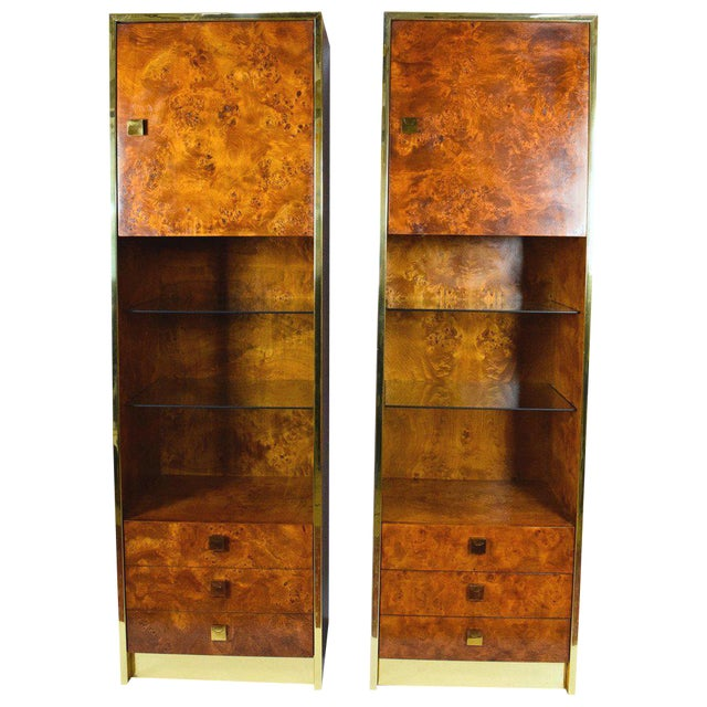 Milo Baughman Styled Burled Walnut Wall Units by Founders of Thomasvile - A Pair For Sale