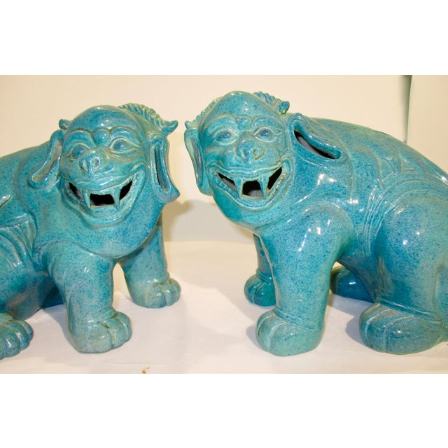 Asian Chinese Porcelain Mythological Beasts in Robin's Egg Blue Glaze - a Pair For Sale - Image 3 of 9