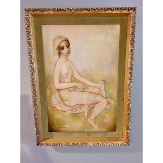 1960's Velvet Matted Nude Expressionism Painting Preview