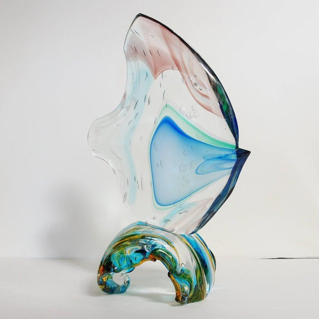 Figurative Murano Fish on Wave Sculpture by Sergio Costantini For Sale - Image 3 of 11