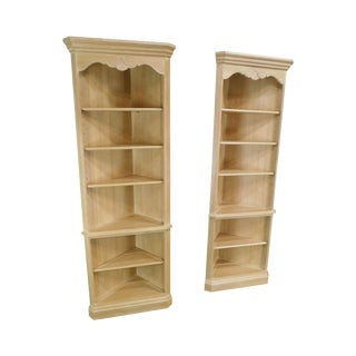 Ethan Allen Country French Pair Maple Open Corner Cabinets Bookcases For Sale