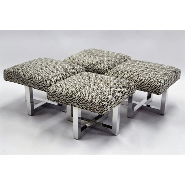 Mid-Century Modern Pair of 1960s Polished Aluminum Upholstered Stools Benches( Two Pairs Available) For Sale - Image 3 of 11